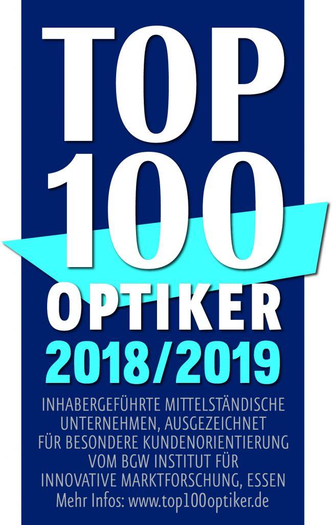 Auszeichnung zum Top 100 Optiker 2018/2019